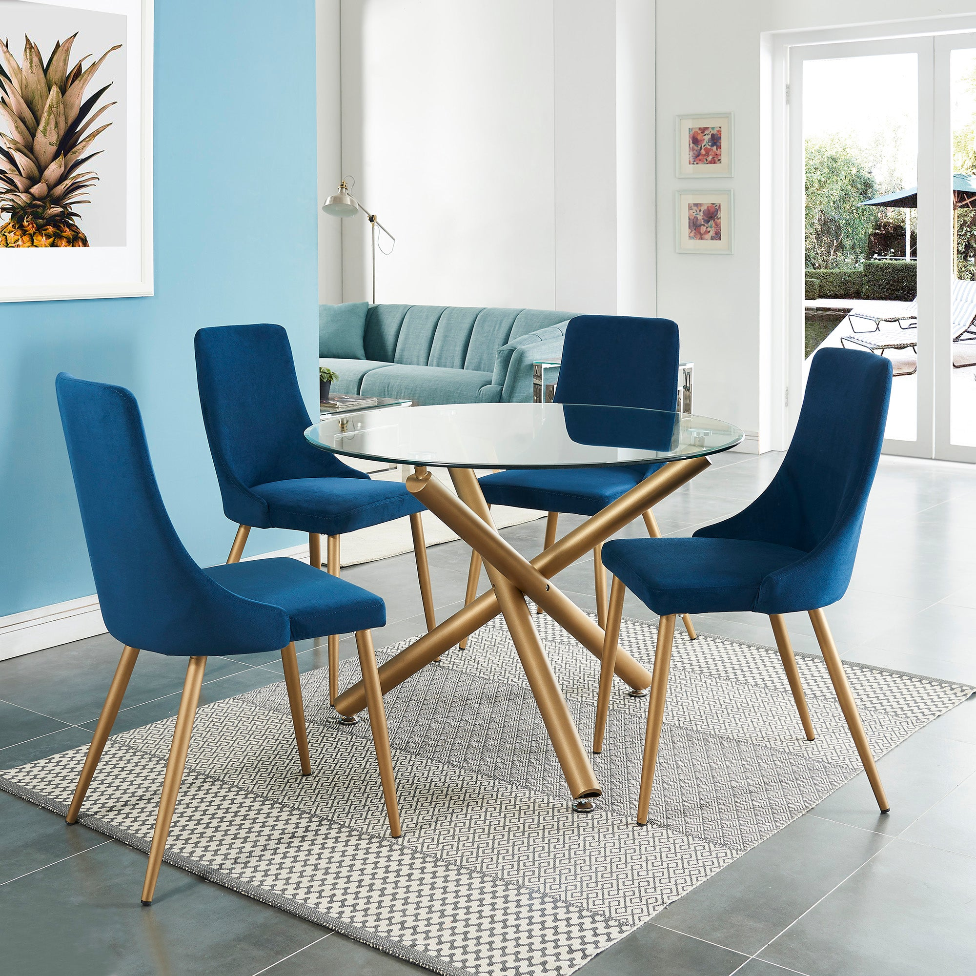 Carmilla Side Chair, set of 2 in Blue