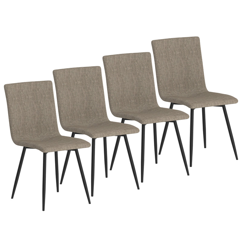 Nora Side Chair, set of 4 in Grey with Black Leg