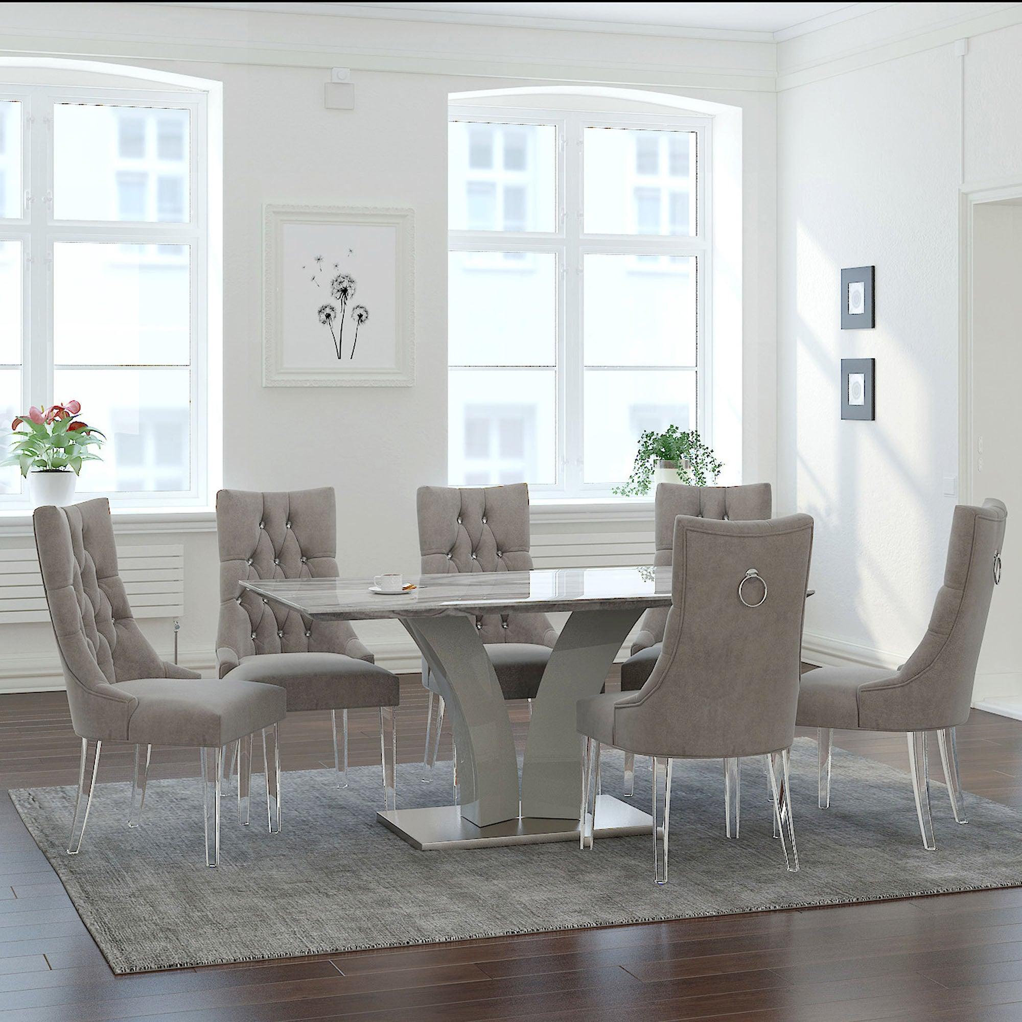 Napoli/Cavalli 7pc Dining Set, Grey/Grey