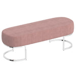 Zamora Bench in Dusty Rose with Silver Base