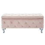 Monique Rectangular Storage Ottoman in Blush Pink