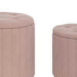 Tobi 3pc Storage Ottoman Set in Blush & Gold