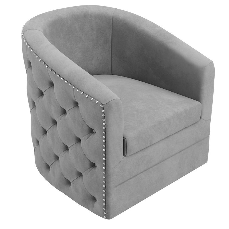 Velci Swivel Accent Chair in Grey