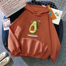 Load image into Gallery viewer, Cartoon Avocado Pullover Hoodie - brick red / S - Sports &