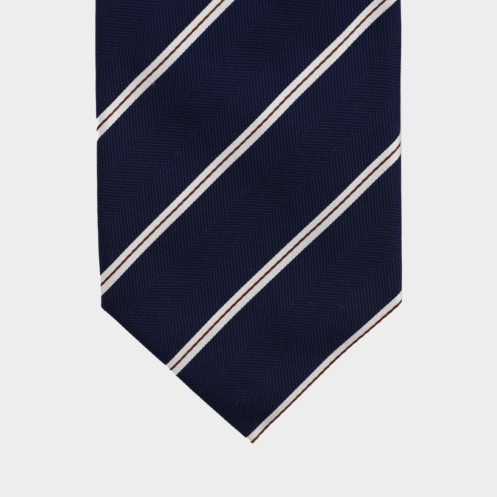 Load image into Gallery viewer, Classy Navy Stripe I Handmade Italian Tie