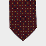 Daisies flower I Handmade Italian Tie I Bordeaux-Yellow-Blue