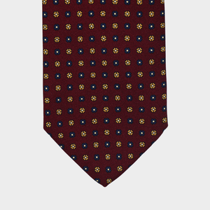 Load image into Gallery viewer, Daisies flower I Handmade Italian Tie I Bordeaux-Yellow-Blue
