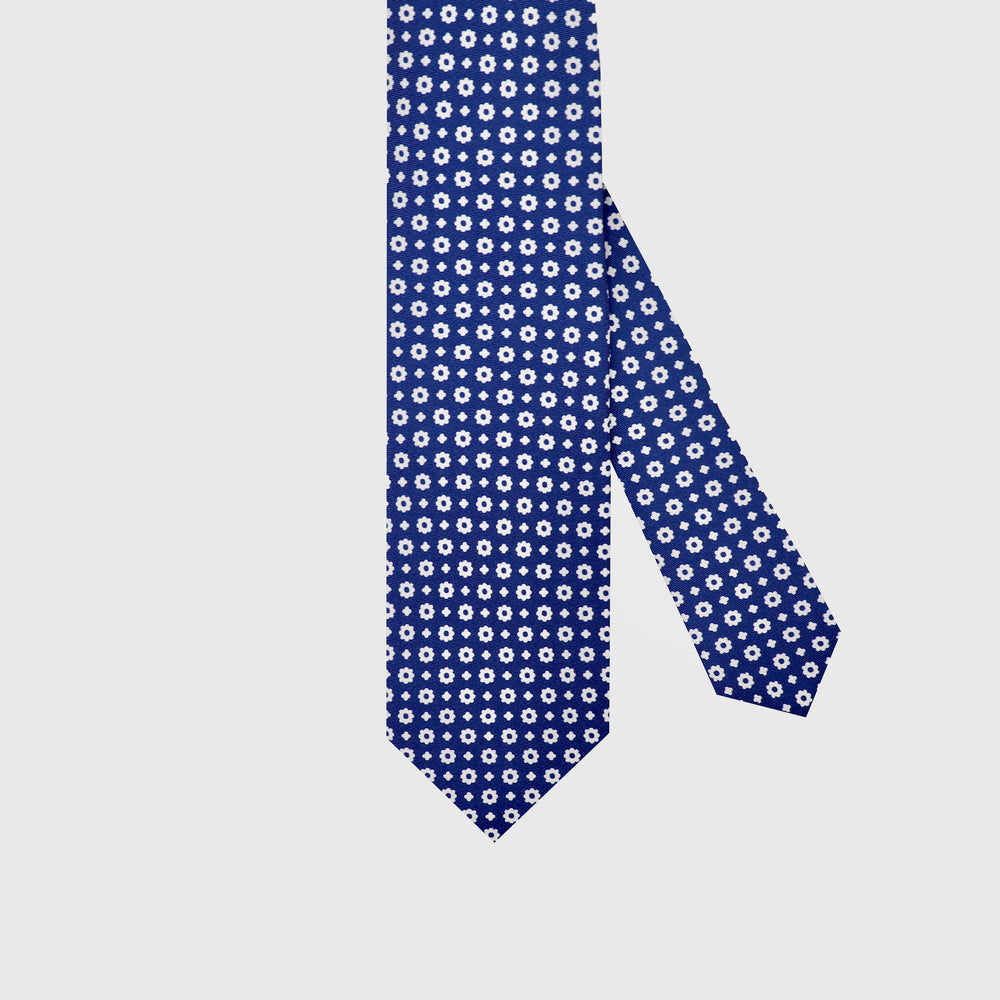 Flower Power I Self-tipped Tie I Navy Blue-White