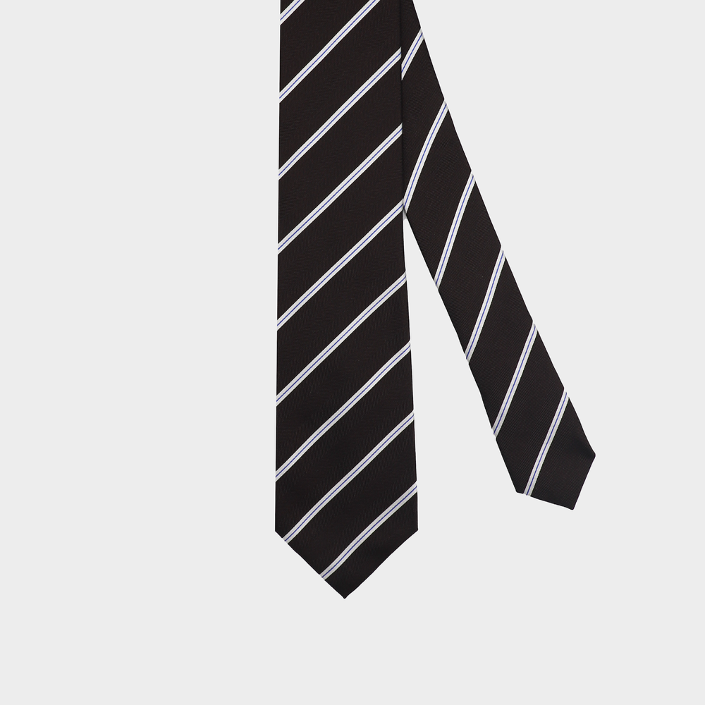 Load image into Gallery viewer, Classy Choco Stripe I Self-tipped Tie I Brown-White-Light Blue