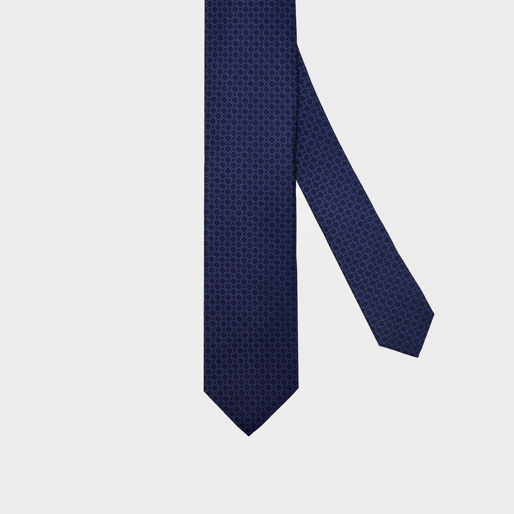 Rounded squares I Handmade Italian Tie I Navy Blue-Light Blue