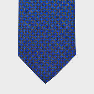Load image into Gallery viewer, Rounded Squares of Gold I Self-tipped Tie I  Blue-Gold