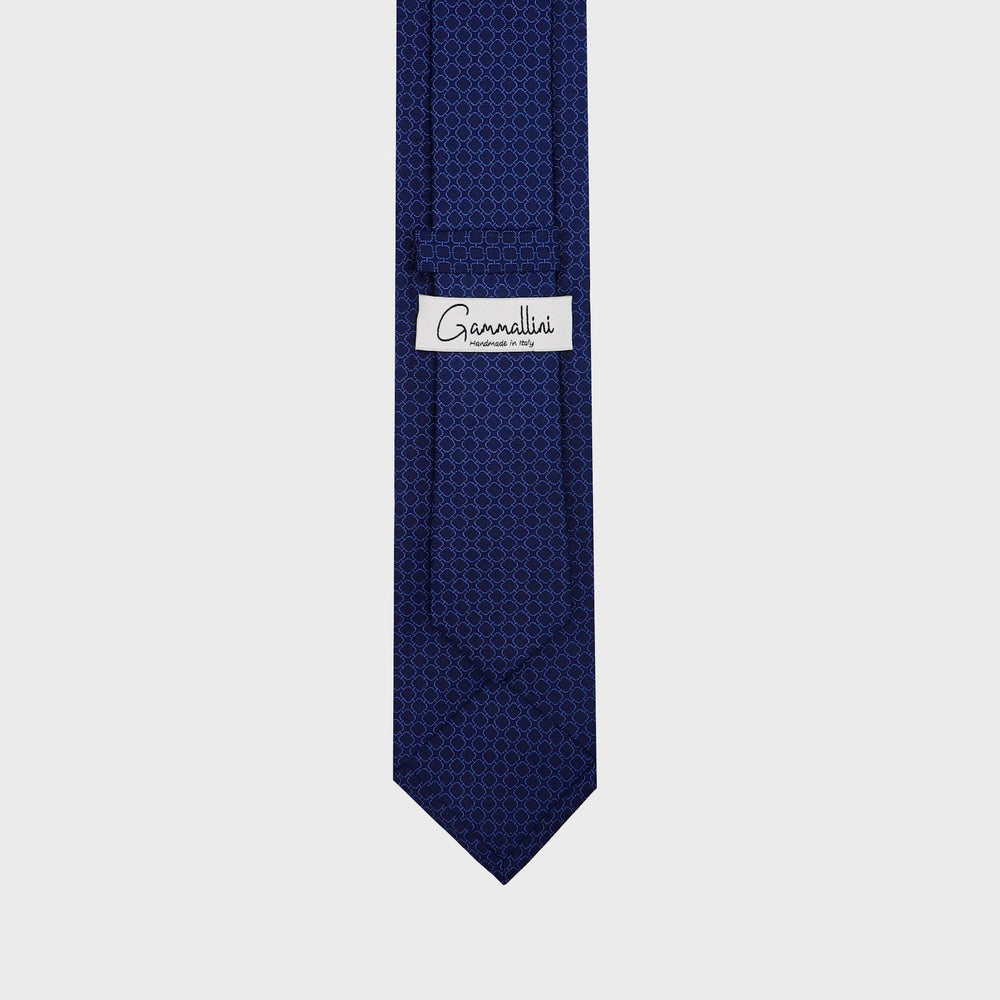 Load image into Gallery viewer, Rounded squares I Handmade Italian Tie I Navy Blue-Light Blue