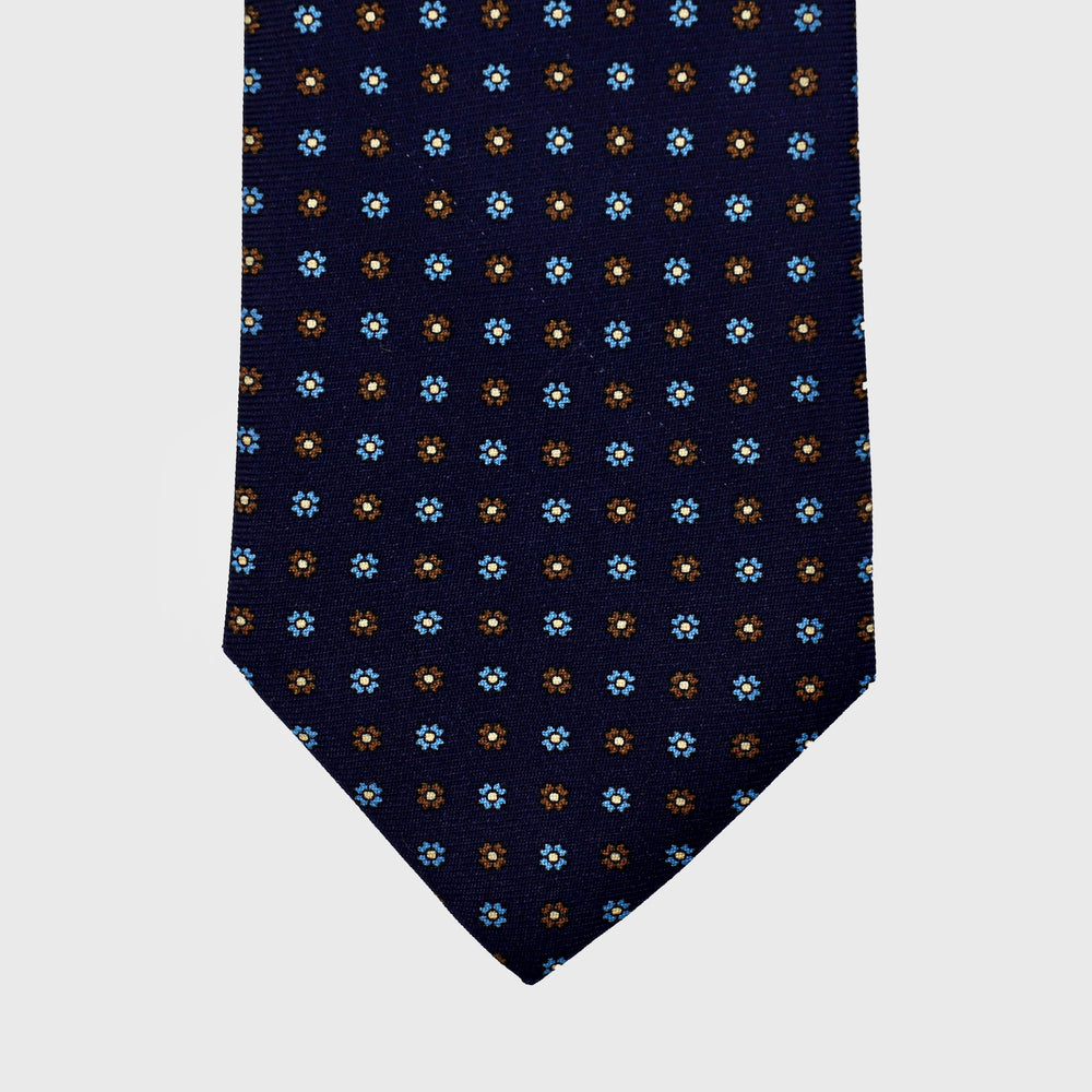 Daisies flower I Handmade Italian Tie I Midnight Blue-Yellow