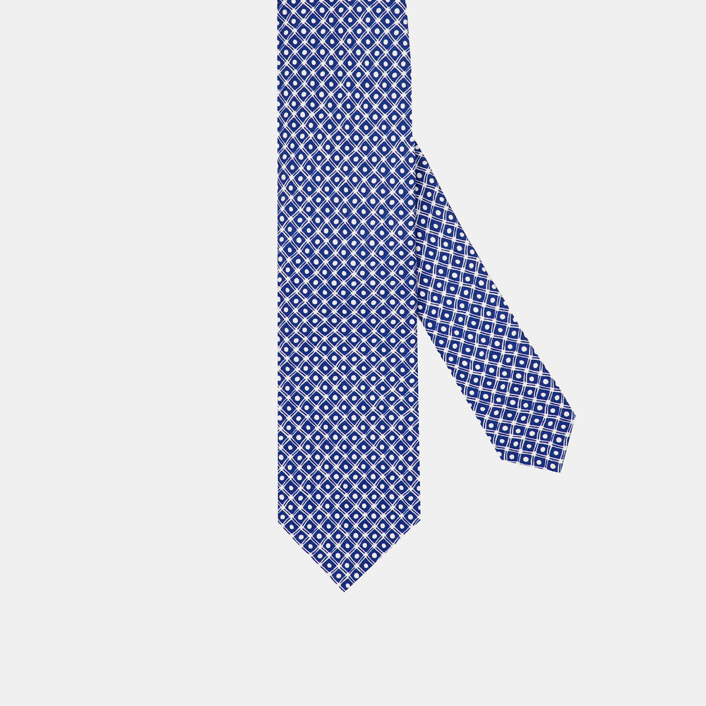 Dots and Boxes I Self-tipped Tie I Blue-White
