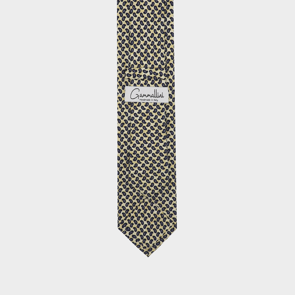 Load image into Gallery viewer, Paisley I Handmade Italian Tie | Yellow-Navy Blue