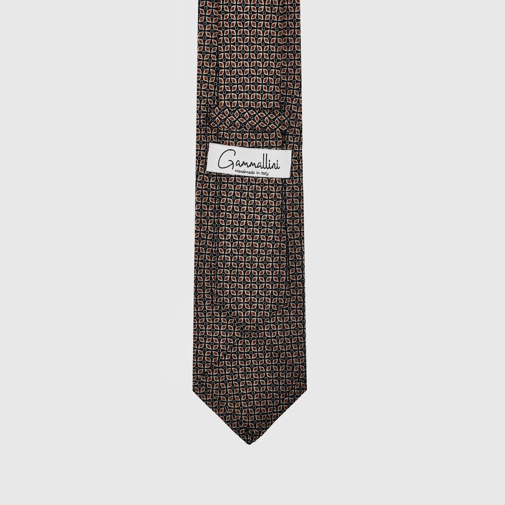 Load image into Gallery viewer, Mandala Pattern I Self-tipped Tie I Choco Brown-Khaki-Brown