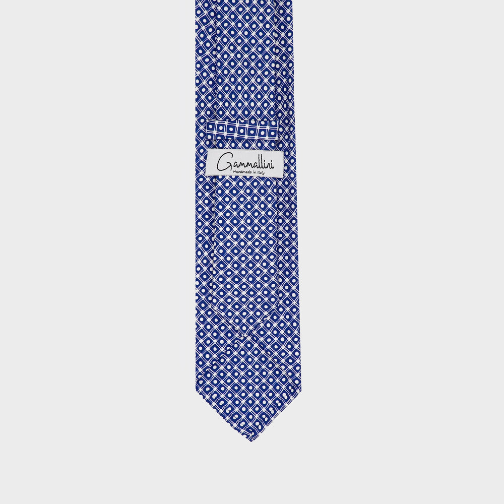 Load image into Gallery viewer, Dots and Boxes I Self-tipped Tie I Blue-White