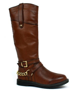 Gold Chain Riding Boot Brown