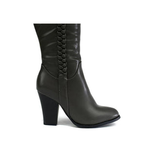 Block Heel Pleat Boot Grey