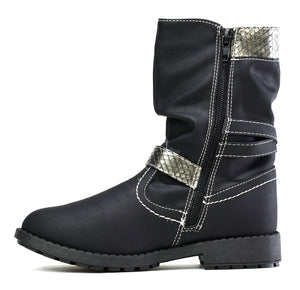 Arya Girl's Metallic Ankle Boot Black