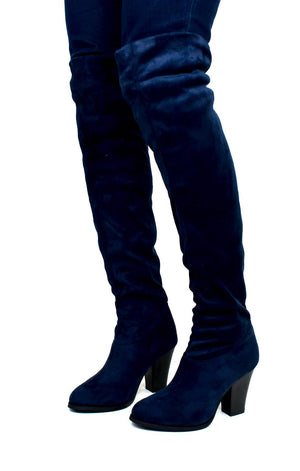 Women's Over The Knee Cloth Heeled Boot Navy