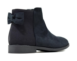 Girl's Bow Zip Up Faux Suede Ankle Boot Black