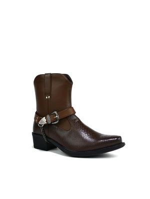 High Top Ankle Cowboy Boot Brown