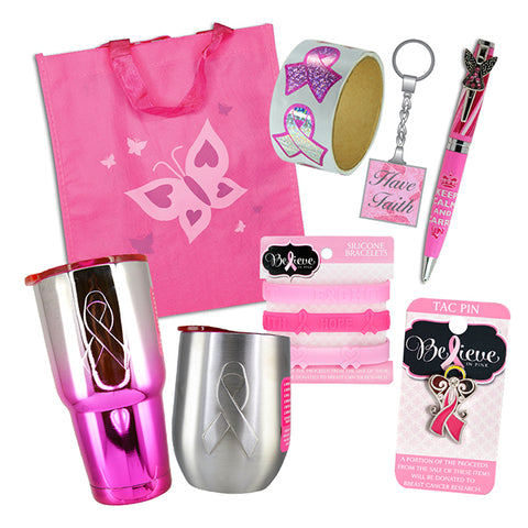 8-Piece Deluxe Pink Ribbon Gift Bag