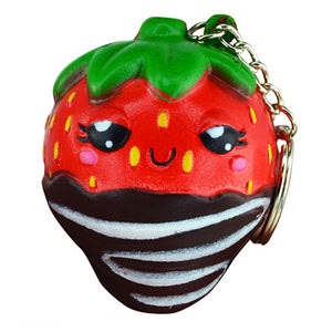 Chocolate Strawberry Squish-N-Squeez'em Keychain