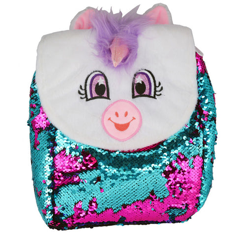 White Unicorn Flip Sequin Backpack