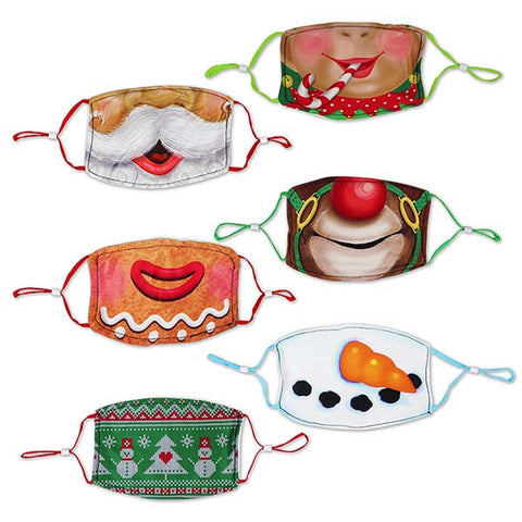 Christmas Children's Polyester Masks - 6 Pack