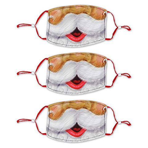Santa Children's Polyester Masks - 3 Pack