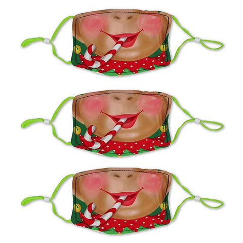 Adult Size Elf Polyester Masks - 3 Pack
