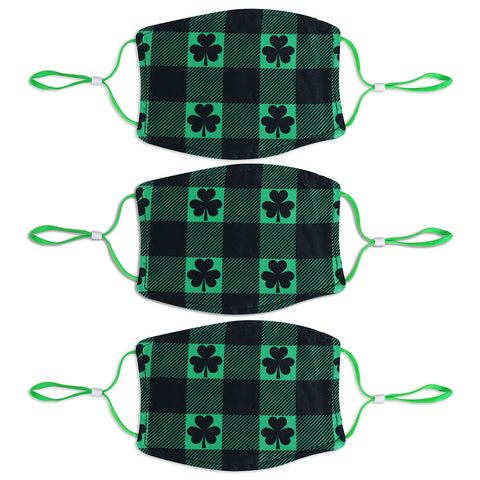 Adult St. Patrick's Day 3 Pack Mask Set - Clover Plaid