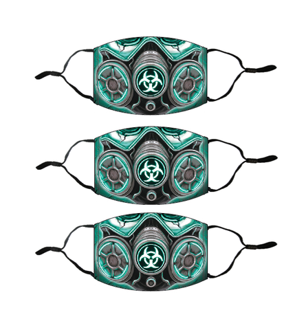 Adult Printed Face Mask 3 Pack - Biohazard Mask