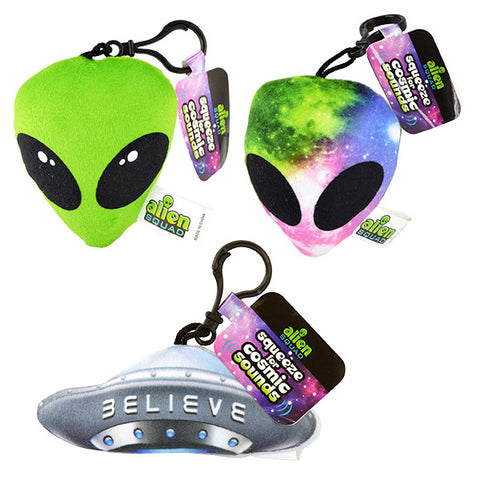 Stuffed Alien Sound Backpack Clips