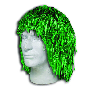 Green Metallic Tinsel Wigs