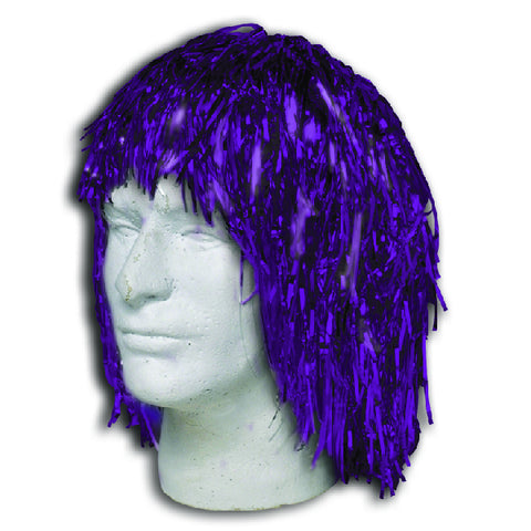 Purple Metallic Tinsel Wigs