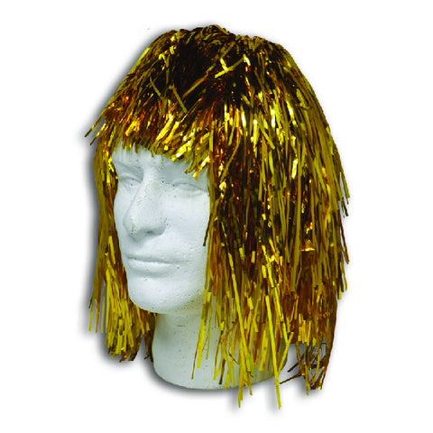 Gold Metallic Tinsel Wigs