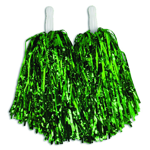 Green Metallic Pom Poms