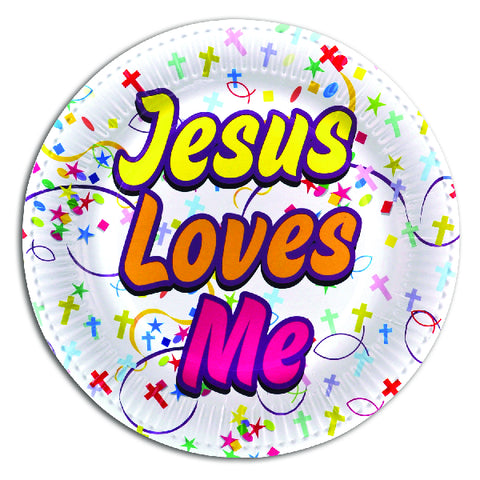 Jesus Loves Me Themed Paper Party Plates