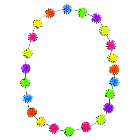 Neon Rainbow Spiky Ball Necklaces