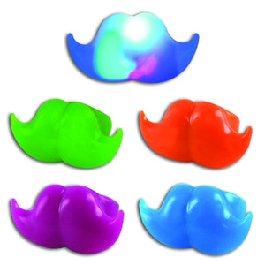 Colorful Light Up Mustache Rings