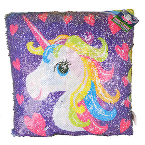 Rainbow I Heart Unicorns Flip Sequin Pillow