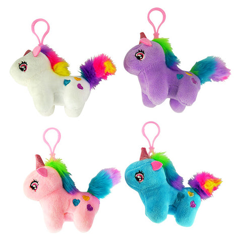 Rainbow Unicorn Plush Backpack Clips
