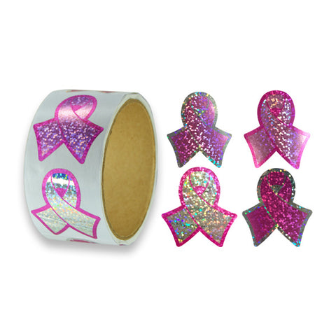Sparkle Pink Ribbon Stickers