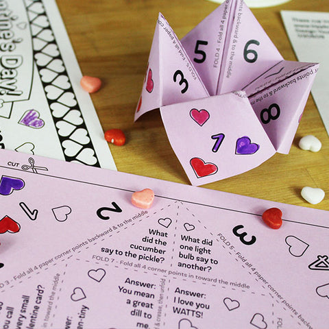 Valentine's Day Fortune Teller with Jokes Downloadable Activity