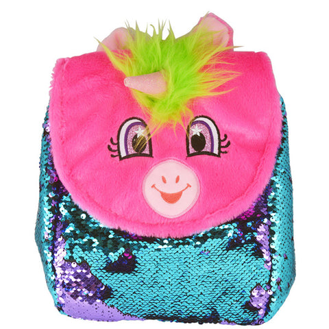 Pink Unicorn Flip Sequin Backpack