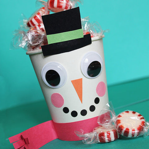 Snowman Treat Cup Craft Downloadable Template