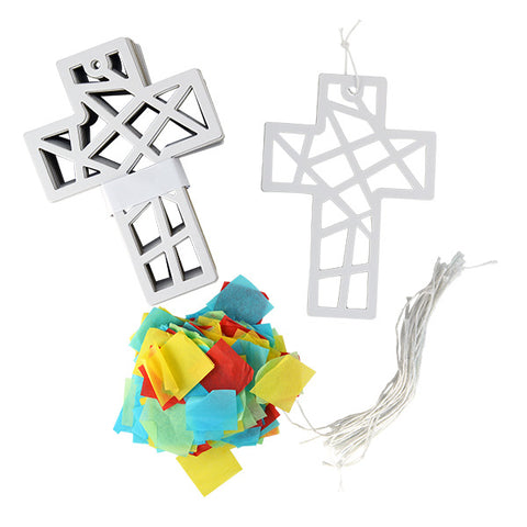 DIY Tissue Paper Cross Suncatcher